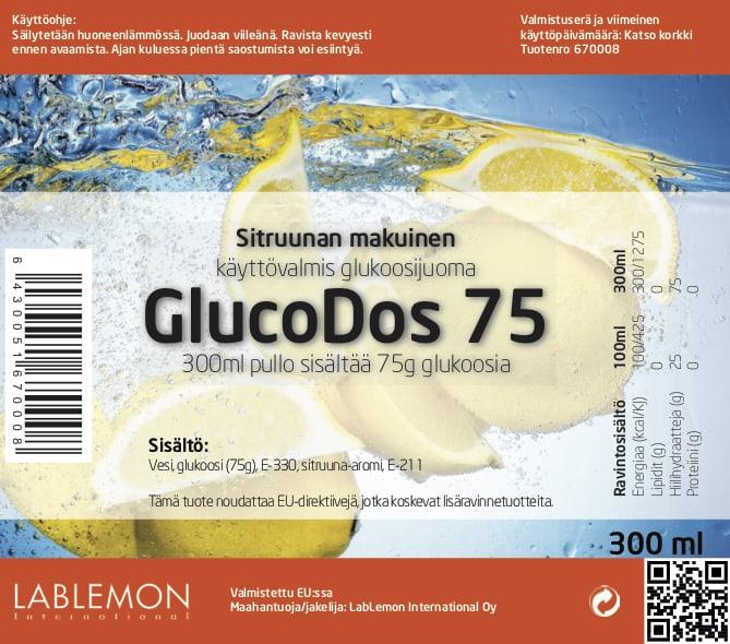Glucodos 75g Lemon glukoosijuoman etiketti. Sitruunanmakuinen juoma on helppo ja nopea juoda jääkaapinviileänä.