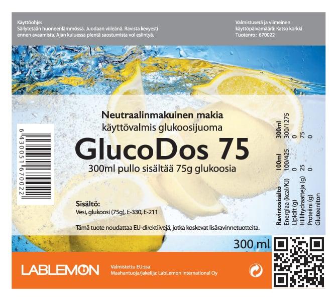 Glukoosijuoma GlucoDos 75 Makia etiketti. GLucodos Makia soveltuu sitrusallergikoille sekä muille herkille käyttäjille.